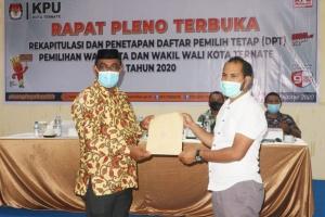 Komisi Pemilihan Umum (KPU) Kota Ternate sudah menetapkan Daftar Pemilih Tetap (DPT) pada pemilihan Wali Kota dan Wakil Wali Kota (Pilwako) Ternate tahun 2020 sebanyak 117.120 pemilih